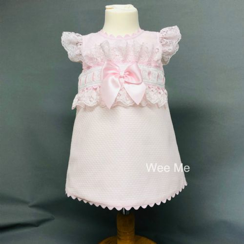 New Arrival Gorgeous Baby Girl Pink Spanish Lacey Dress